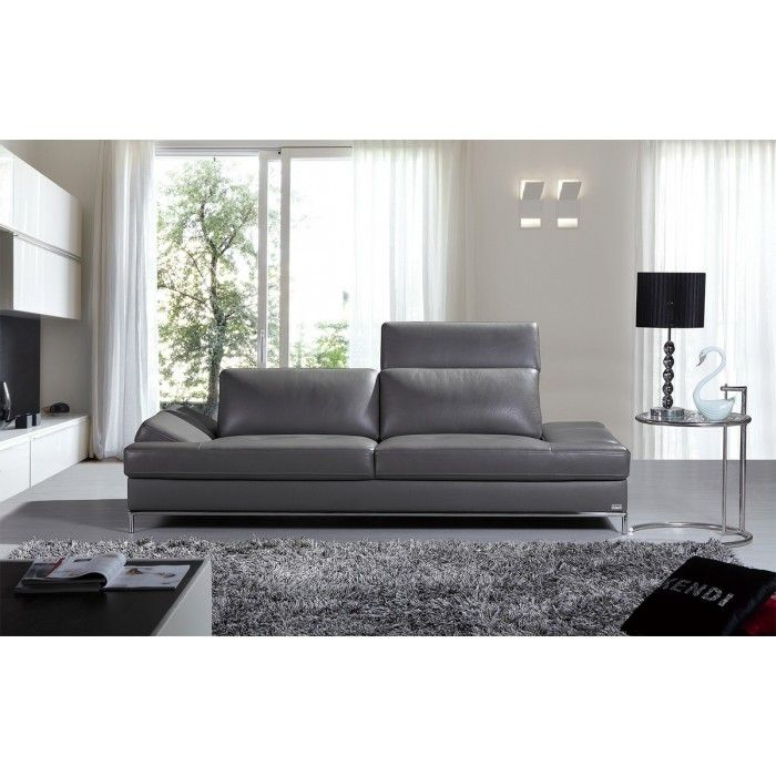 Divani Casa Izzy Modern Dark Grey Leather Sofa