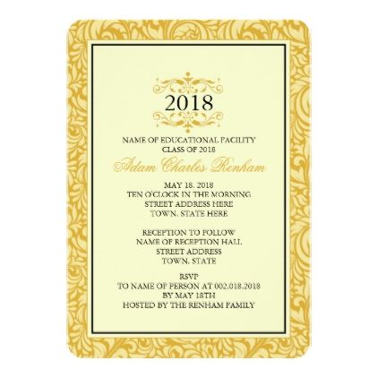 2018 Graduation Template Golden Yellow Formal - invitations custom unique diy personalize occasions
