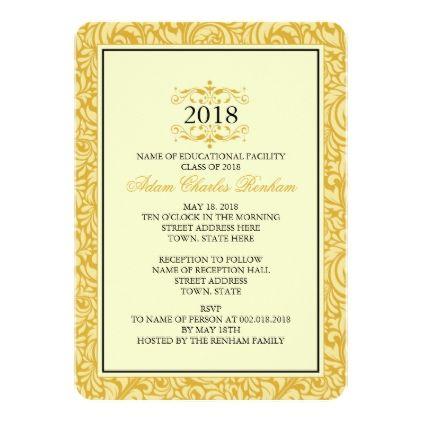 2018 Graduation Template Golden Yellow Formal - invitations custom unique diy personalize occasions