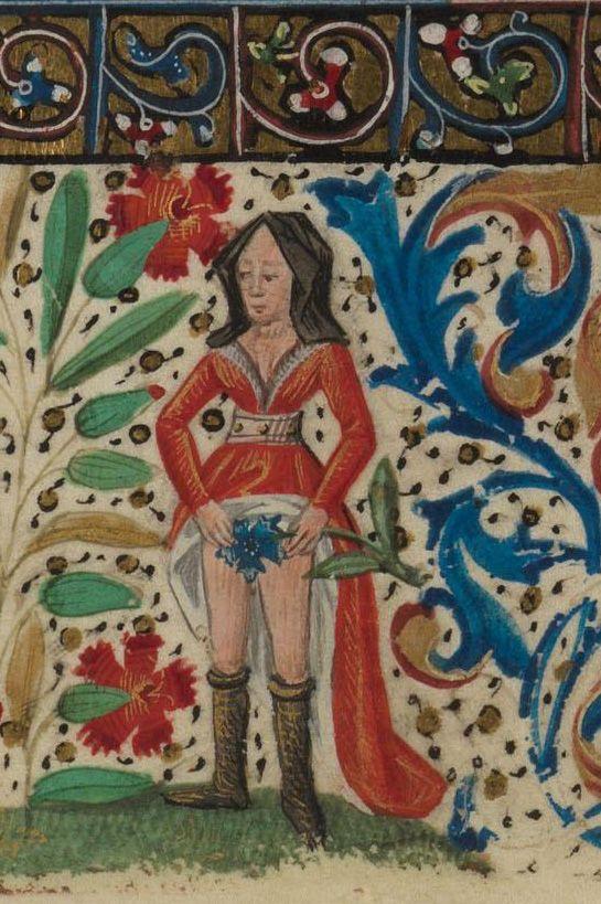 Paris, Bibliothèque de l'Ecole des Beaux-Arts, Ms. 0482, detail of f.60v. Book of Hours. 15th century.  Bringing a whole new meaning to the term 'Lady Garden'.