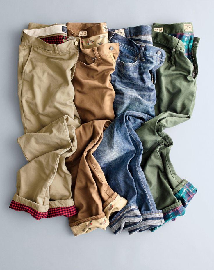 J.Crew men's 770 cabin pants in chino, Bedford cord and denim in Schaeffer wash.