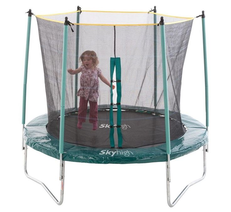 8ft Trampoline with Safety Enclosure. Exciting Bounce with 48 Springs and Thick