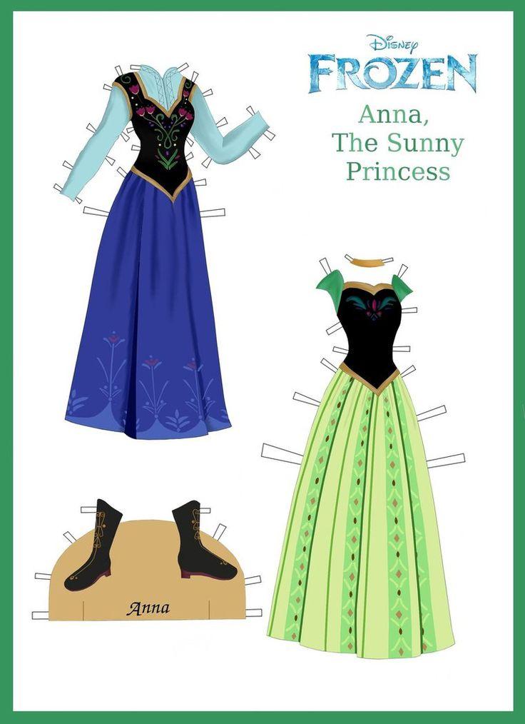 (⑅ ॣ•͈ᴗ•͈ ॣ)                                                           ✄Disney's Frozen Paper Dolls: Anna's Outfits by evelynmckay