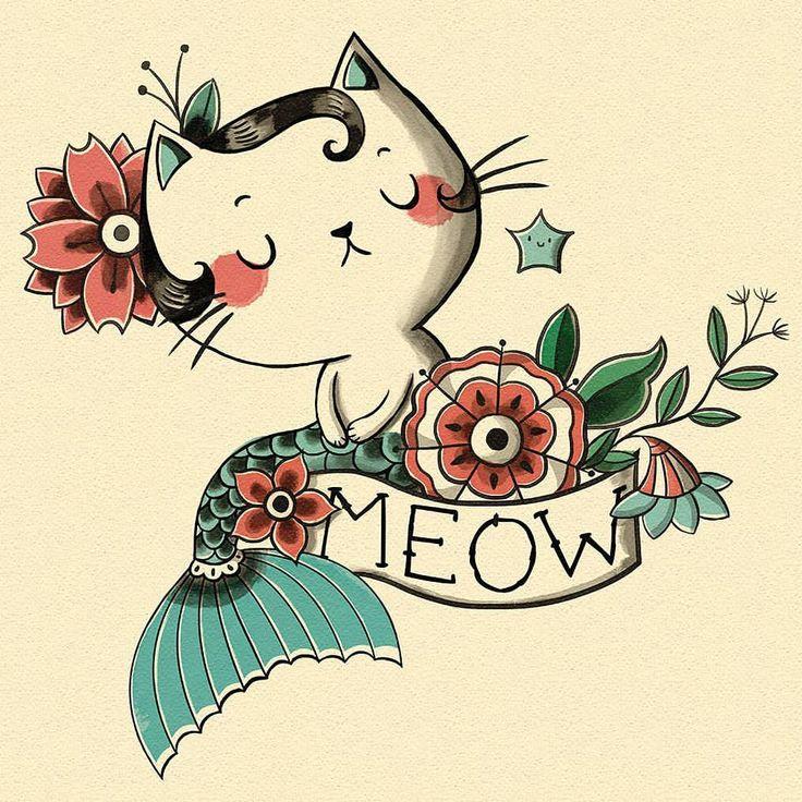 MEOW . . . . #tattoo #oldschool #illustrationartists #crazycatlady #...