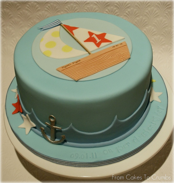 Nautical cake for a joint christening/first birthday cake.