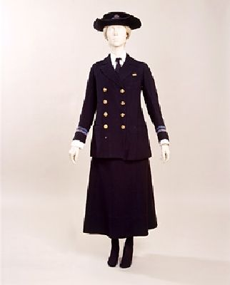 WW1 Women's Royal Naval Service uniform. Worn by Sybil W Aspinall, who joined the WRNS in 1918. She was Assistant Principal(again, women were not allowed to have navy ranks), and she worked in Admiralty House, London. She was awarded the British War Medal. The WRNS was formed in 1918. There were two branches, the Mobile, whose members could be sent anywhere in Britain, and the Immobile, who lived at home and worked locally. Only women who had a male relative in the Navy were eligible to…