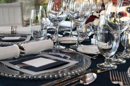 black & silver event decor