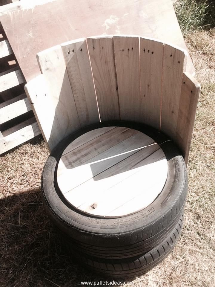 Old tires with pallets wood outdoor chair wine bottle for How to make tire furniture