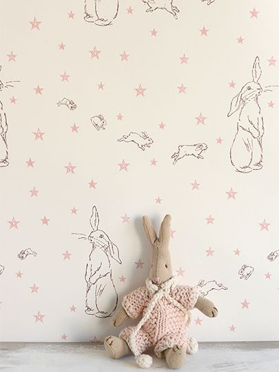 "Rabbit All Star £95.00 per roll Stunning wallpaper hand printed in England, in the most gorgeous grey and pink. ( I think this wallpaper could be cool ""framed as art"" in a little girls room! )"