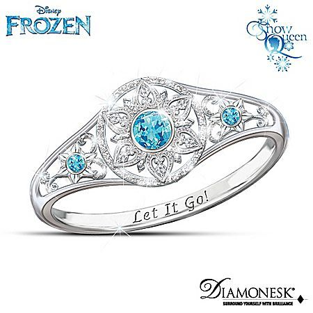 Disney's FROZEN Diamonesk Enchanted Snowflake Ring with Let It Go! Engraving