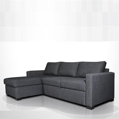 Nova Sofa Bed - This sleek corner unit from Grafu Baldai converts seamlessly into a spacious and comfortable sofabed.  Available in a range of fabrics, the Nova sofabed has been designed to simply pull out to provide additional sleeping space.   With handy storage for those extra pillows and duvets hidden beneath the chaise section, the Nova perfectly combines practicality with style.