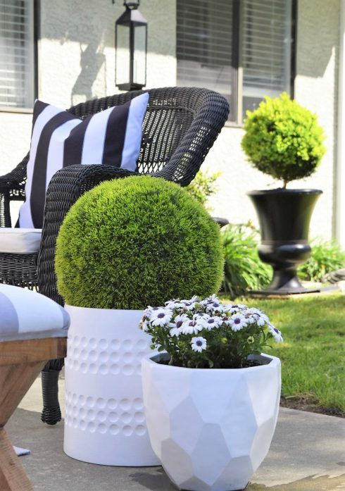 Pair black with crisp, clean white for a dramatic patio combination. Summer greens makes it fresh for the season.