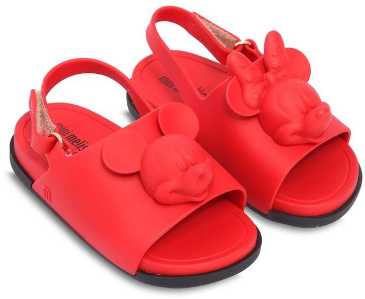 Scented Mickey Mouse Rubber Sandals. Has Back strap with hook and loop fastener.