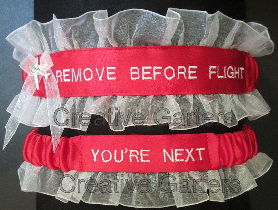 Handcrafted embroidered garter set for your pilot by CreativeGarters, $36.00