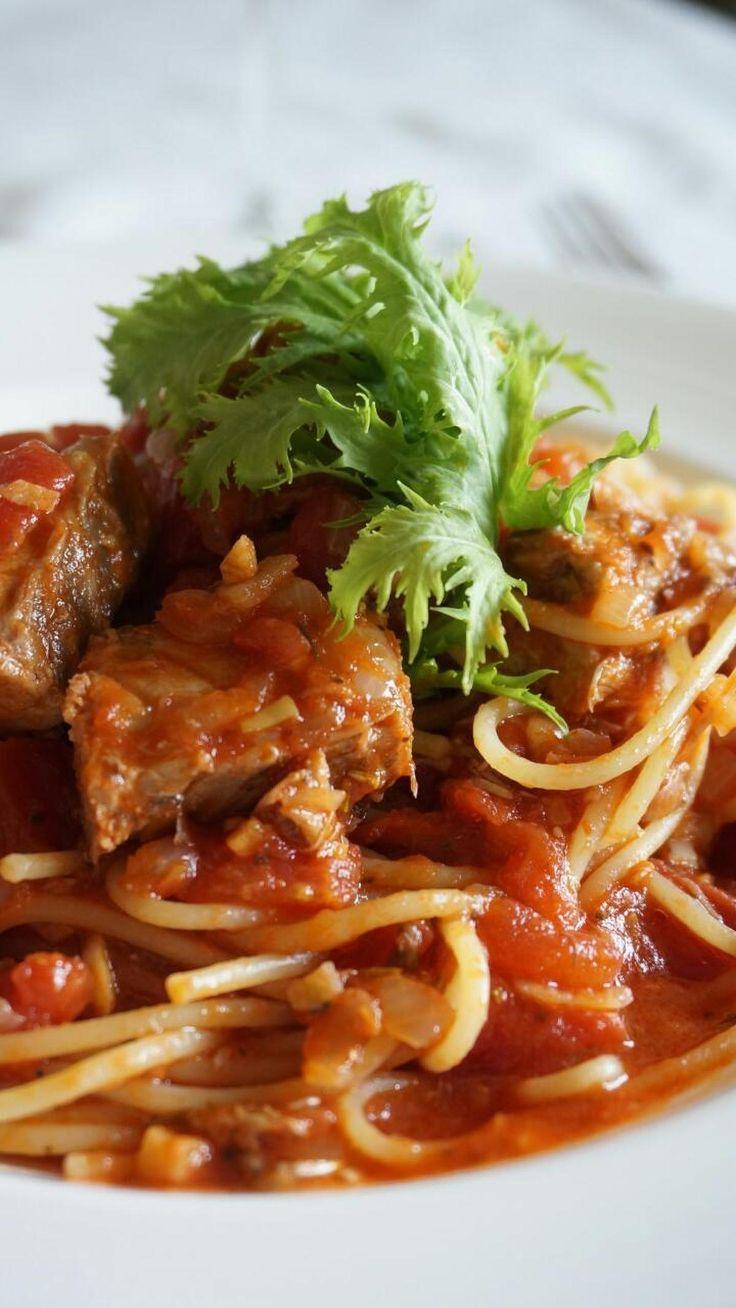 鯖のトマトソースパスタ by 本村 美子 | レシピサイト「Nadia | ナディア」プロの料理を無料で検索