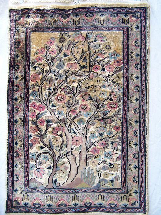 Heel mooi handwerk zijde en wol Qum / Qom tapijt/deken - Pakistan - 20 eeuw  EUR 55.00  Meer informatie