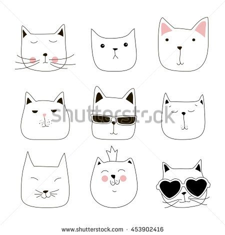 Cute cat doodle series, cat avatars, Cats sketch line style icons. Flat cat animals, cat logo, cats set. Pets character cats handmade to print cat T-shirts. Vector illustration cats