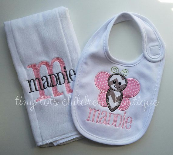 Personalised Boy Girl Newborn Baby Gift Bibs Embroidered 14 Designs Pink Blue