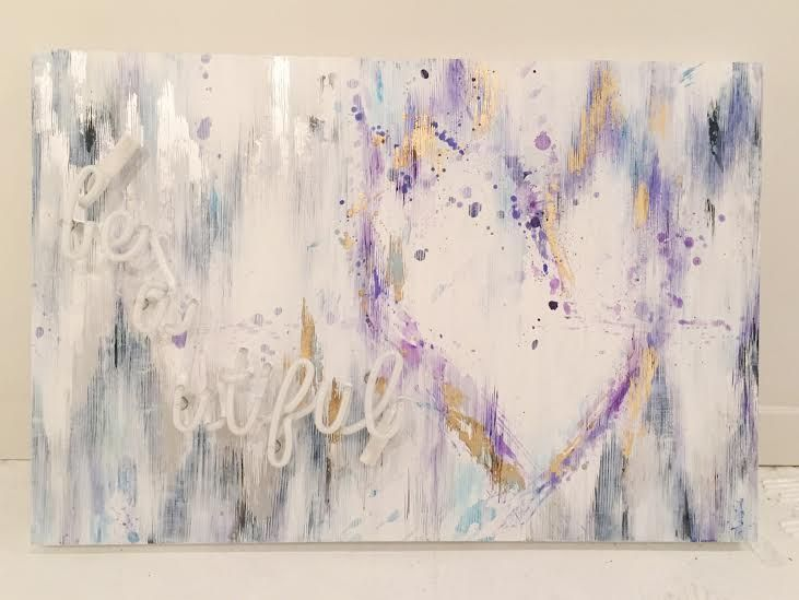 "Beautiful Acrylic, gold and silver leaf on panel, purple neon 24"" x 36""  $1490"