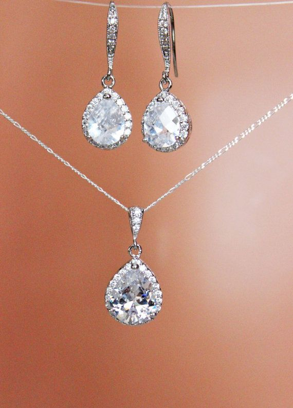 Crystal Drop Bridal Necklace Earring
