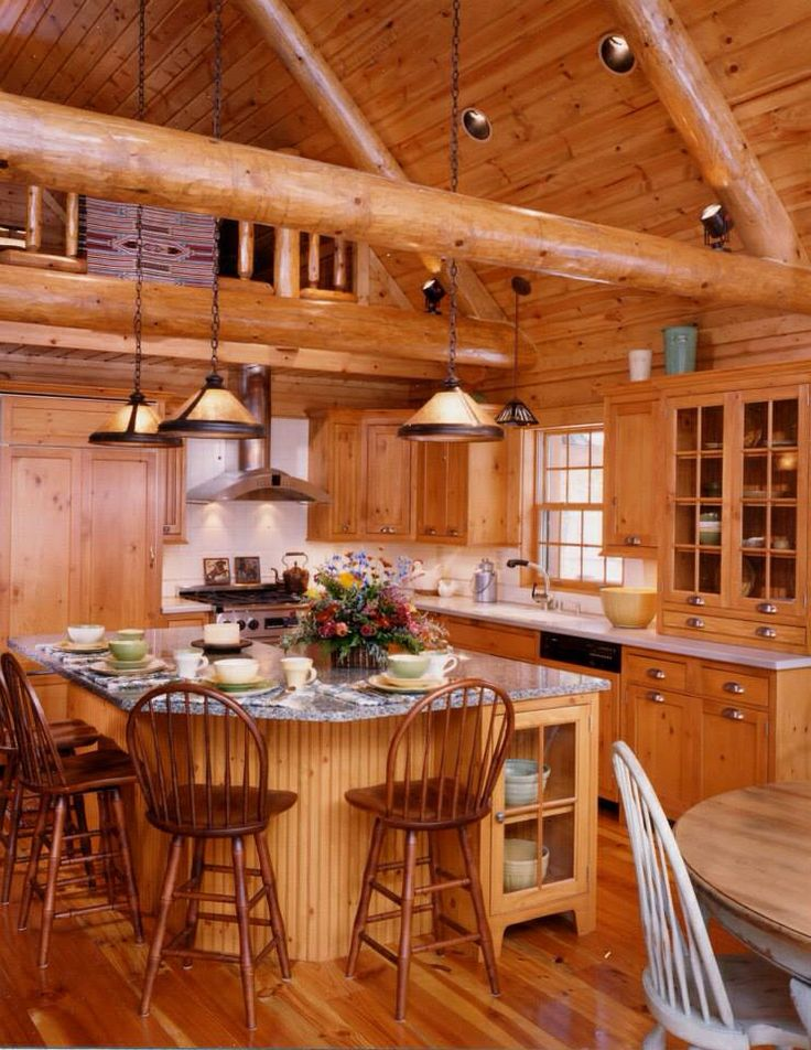 nice kitchen in 2019 log cabin kitchens cabin kitchens log home kitchens on kitchen id=12735