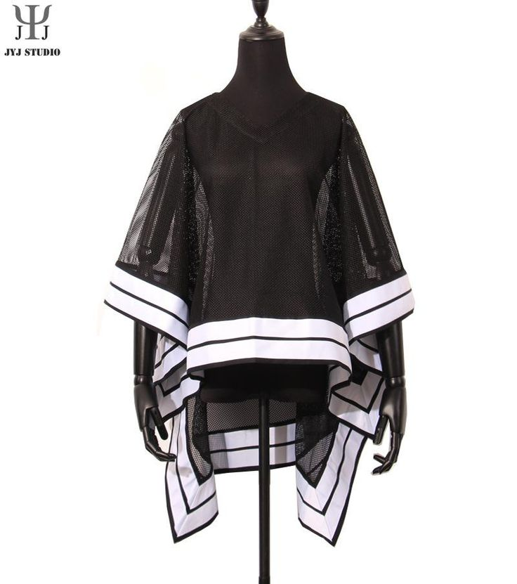 Aliexpress.com : Buy Black Cloak Women White Ribbon Patchwork Shawls Coat Tulle Perspective Jacket V neck Butterfly Sleeve Loose Jacket Coat from Reliable coat jacket men suppliers on JYJ STUDIO | Alibaba Group