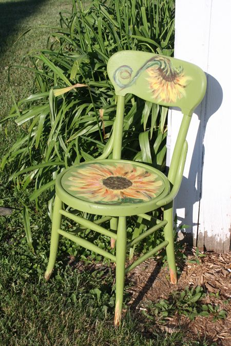 Sunflower chair I painted for a friend.