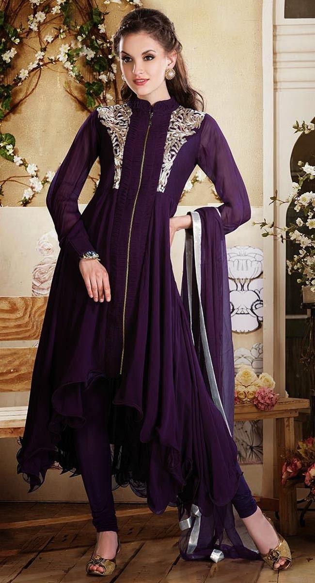 Purple color Anarkali Suits Rmd Salwar-Georgette #Salwar_Kameez
