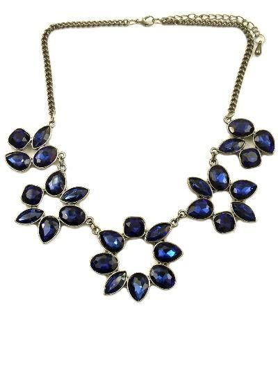 Pair this pretty jewel flower statement necklace with your favourite summer dress and get noticed Available in 3 colours - blue, jet and teal. L 420mm W 45mm
