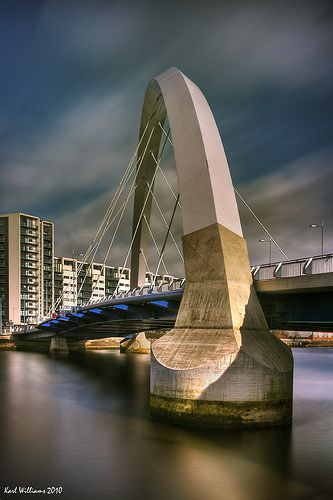 The Squinty Bridge as Glaswegians know it , its sunday name is The Clyde Arc. halcrow group architects