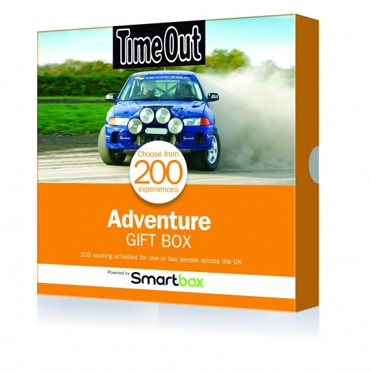 Adventure Gift Box - You receive a Smartbox voucher that allows you to pick from a range of activities in the accompanying catalogue. Adventures include rally driving, Zorbing, surfing, karting, bungee jumping, quad biking, skiing, paintballing, driving a powerboat or a helicopter ride. And more. There's also a souped-up Adrenaline Gift Box, that includes driving a Ferrari, Lamborghini… or a tank