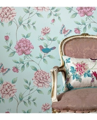 Monsoon Isabelle Duck Egg Wallpaper Pink Light Blue on eBay!