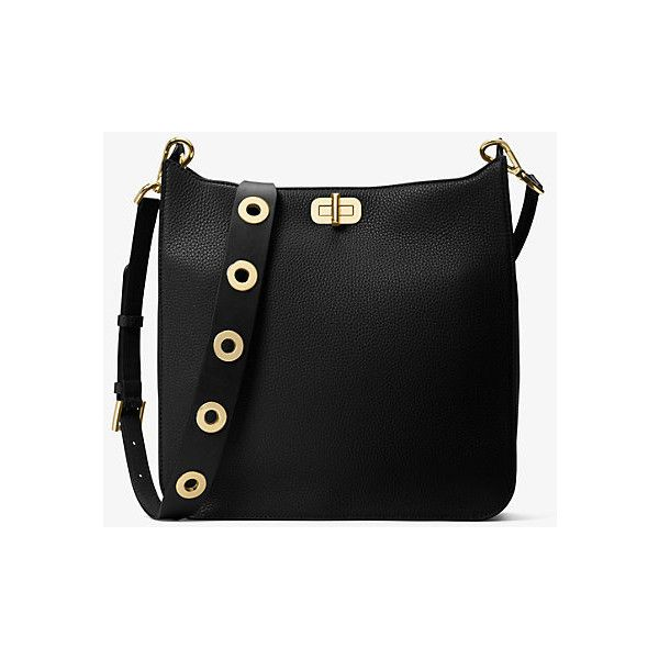 MICHAEL Michael Kors Sullivan Large Leather Messenger ($348) ❤ liked on Polyvore featuring bags, messenger bags, black, leather bags, studded messenger bag, flat bags, real leather bags and studded bag