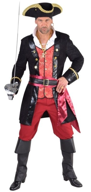 Déguisement pirate homme : ce déguisement pirate homme luxe comprend le manteau pirate, veste, pantalon, écharpe et ceinture pour fêtes de pirates, fêtes déguisées.