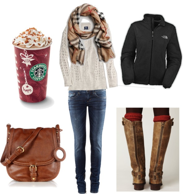 story of my life! North face jacket, starbucks and burberry scarf.