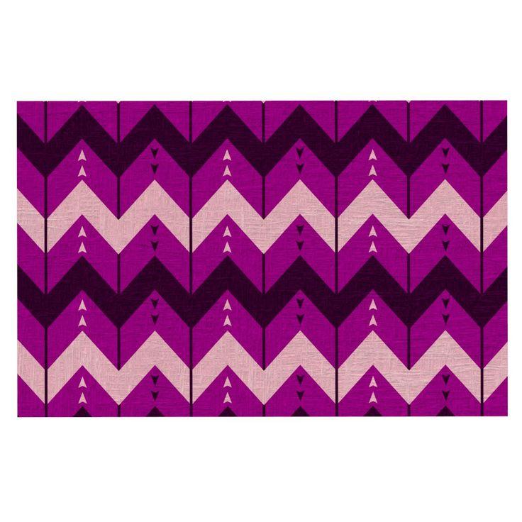 "Nick Atkinson ""Chevron Dance Purple"" Decorative Door Mat"