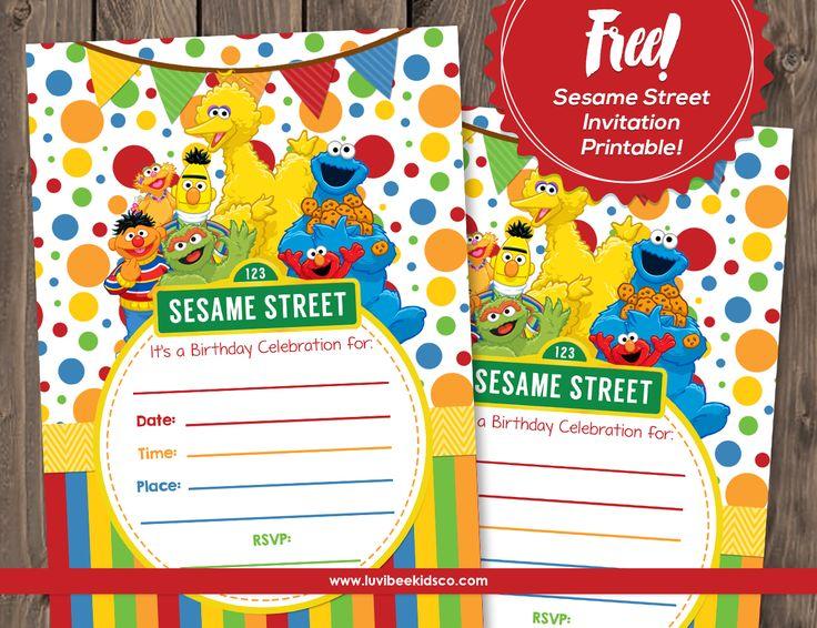 Free Sesame Street Invitation Printable along with Sesame Street Custom Invitations and birthday shirt designs!