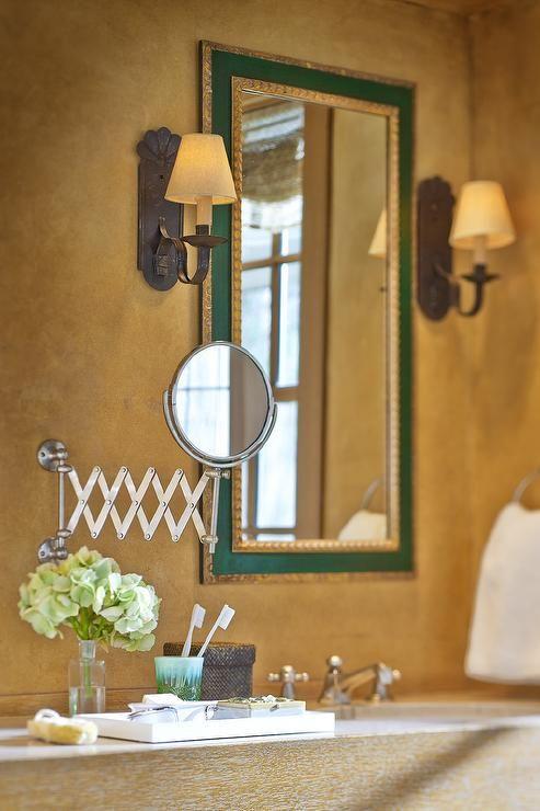 Italian Bathroom with Emerald Green Mirror