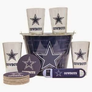 NFL Team Gift Bucket Set (Pint Glasses, Coasters, Bottle Opener, Bucket) Includes 4 16oz Glasses, 16 Logo Coasters, metal bottle opener and aluminum beer bucket Bucket holds 5+ bottles of beer and ice Pint glasses have color logo and etched small team logo Officially Licensed http://livinggood-entrepeneural.blogspot.com/2014/11/gift-ideas-for-dallas-cowboys.html