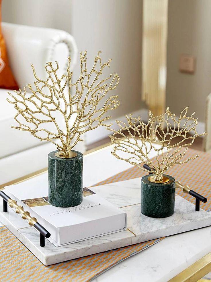 Modern Home Accessories Copper Gold Coral Ornaments Model Room