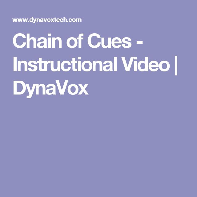 Chain of Cues - Instructional Video | DynaVox