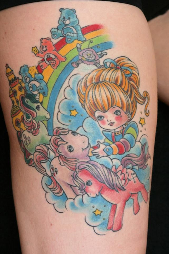 Rainbow Brite, My Little Pony, Care Bears tattoo 80s, Kim Graziano Wall aka thebunnymachine. Classic Tattoo Richmond Virginia RVA