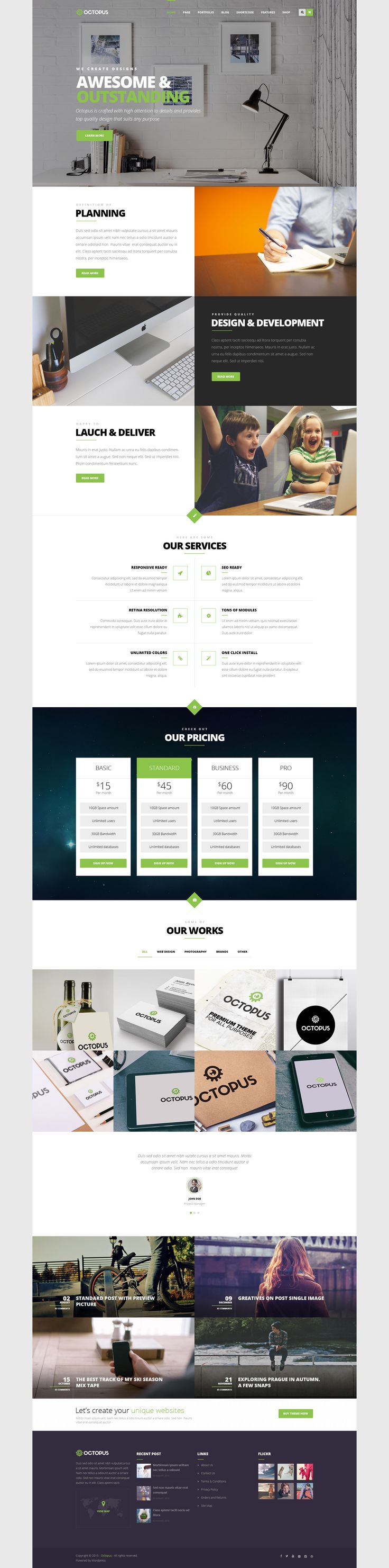 Octopus is a Modern Multipurpose Business WordPress #Theme suitable for any type of website. #Corporate #WP Download Now➝ http://www.downloadnewthemes.com/2015/07/modern-multipurpose-business-wordpress.html