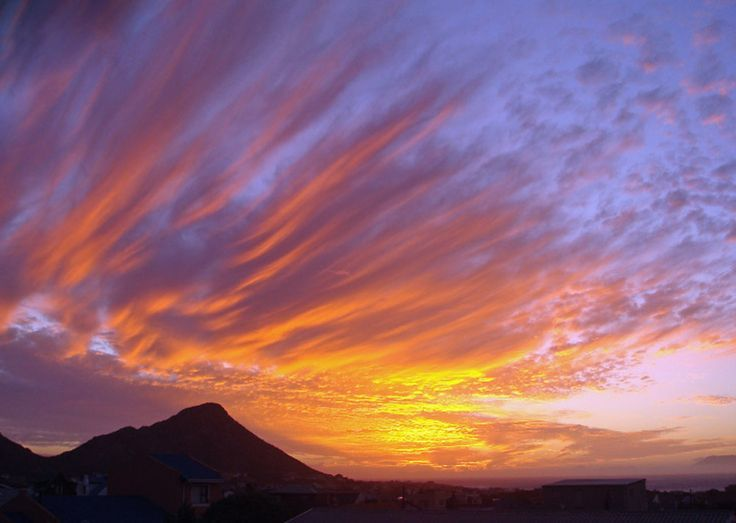 A sunset over Pringle Bay, Cape Town, South Africa.