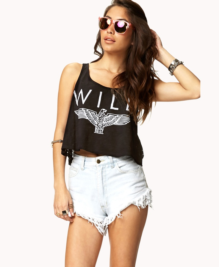 Wild Eagle Crop Top | FOREVER21....WHY ARE THESE SHORTS BACK IN STYLE?? SINCE WHEN IS WEARING A DIAPER CUTE???
