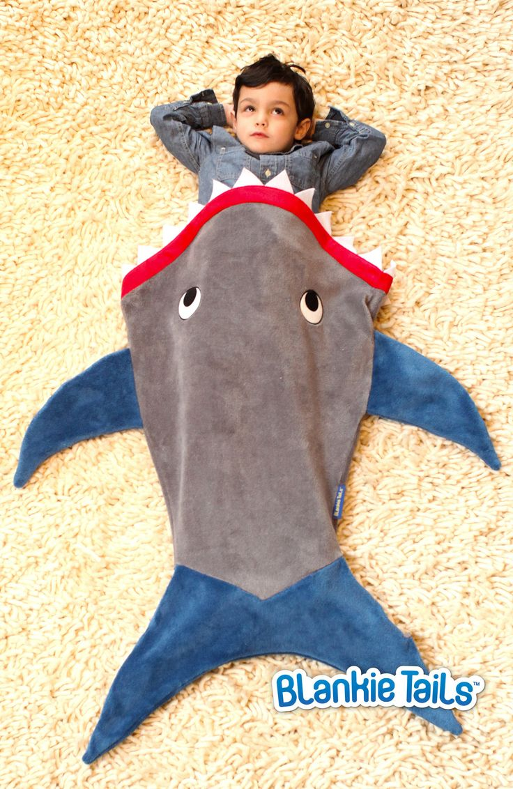 Toddler Shark Blanket by Blankie Tails - Gray and Deep Blue - Blankie Tails - 2