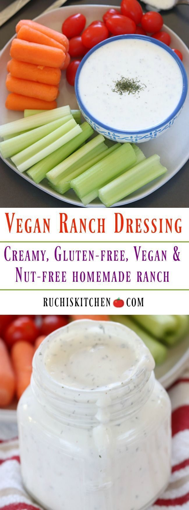 HomemadeVegan Ranch Dressing made with a handful of ingredients. So creamy and deliciousthatit will soon become a staple dressing in your kitchen. Besides that,it's Gluten-free, Vegan, and Nut-free! #vegan #glutenfree #ranchdressing #veganranch #homemadedressing #dipsandspreads #vegandressing