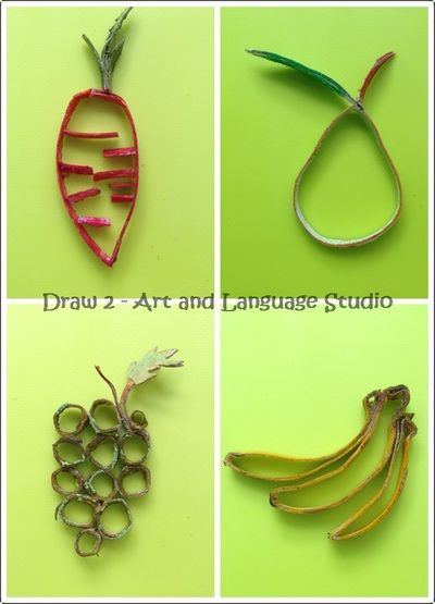 Recycled artworks for kids - toilet paper roll fruits and vegetables