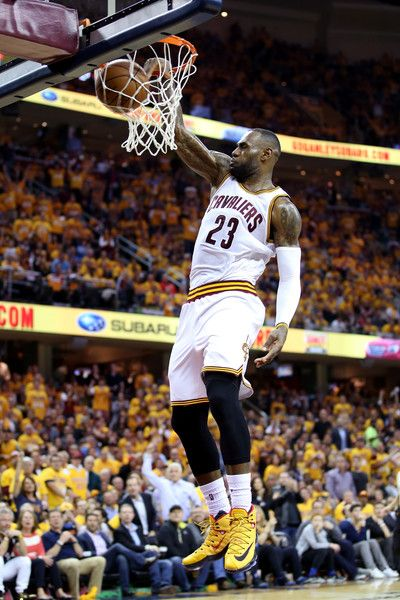 LeBron James Photos - LeBron James #23 of the Cleveland Cavaliers goes up for a dunk in the third quarter against the Toronto Raptors in game one of the Eastern Conference Finals during the 2016 NBA Playoffs at Quicken Loans Arena on May 17, 2016 in Cleveland, Ohio. NOTE TO USER: User expressly acknowledges and agrees that, by downloading and or using this photograph, User is consenting to the terms and conditions of the Getty Images License Agreement. - Toronto Raptors v Cleveland…