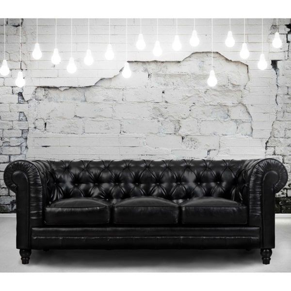 Sofa Cover Comfort and style define the Zahara black leather sofa A modern interpretation of the classic